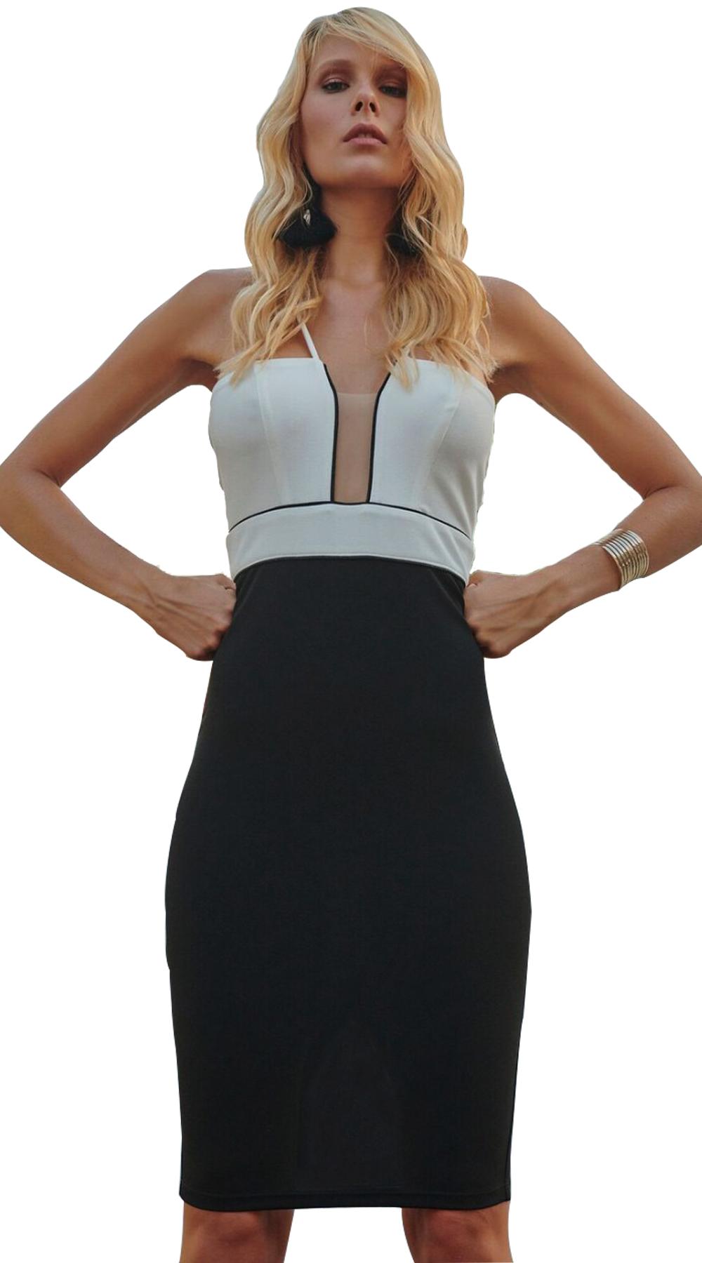 Βodycon εξώπλατο Φόρεμα με βαθύ V - LOVE ME - S18LV-51113
