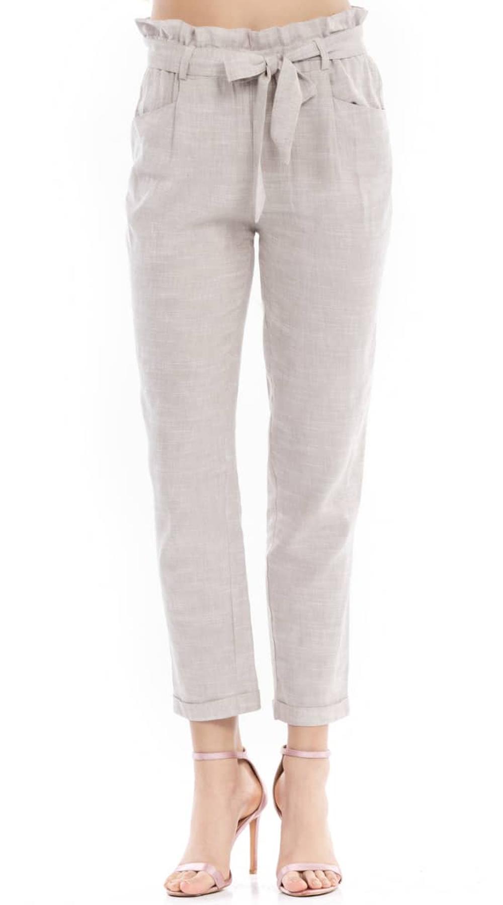 Λινό παντελόνι cigarette με ζώνη Online - ONLINE - S18ON-35536 top trends office look