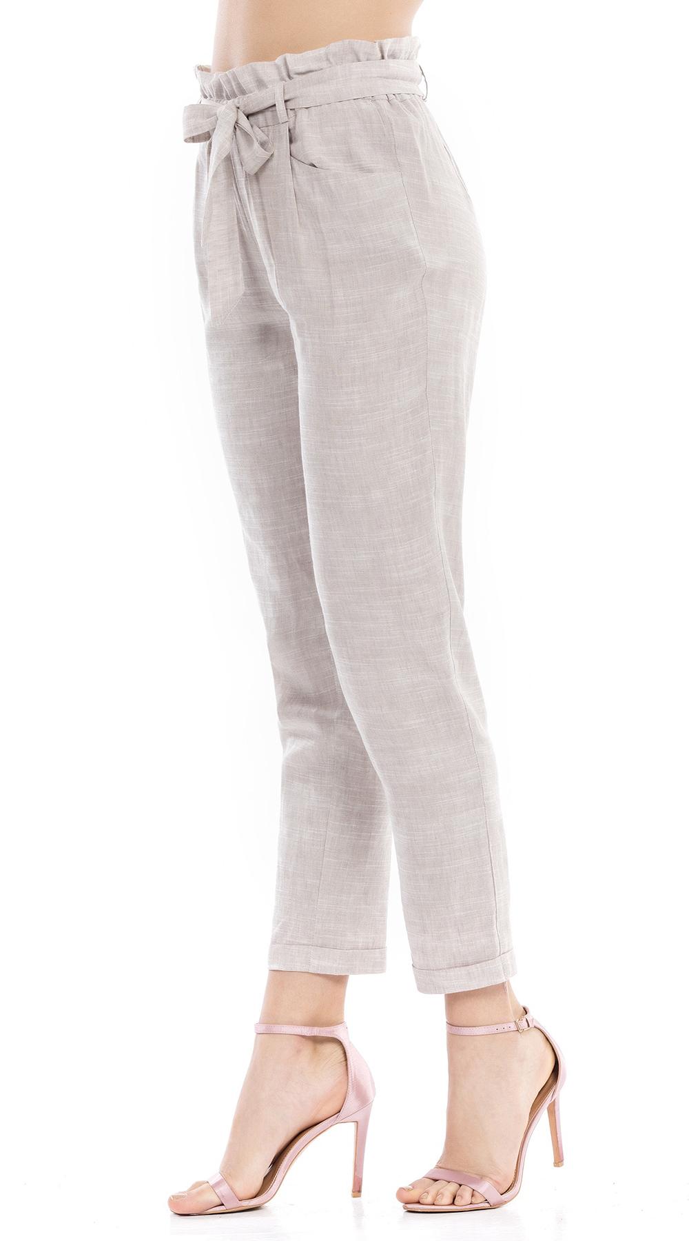 Λινό παντελόνι cigarette με ζώνη Online  1c6cdc3f1ef