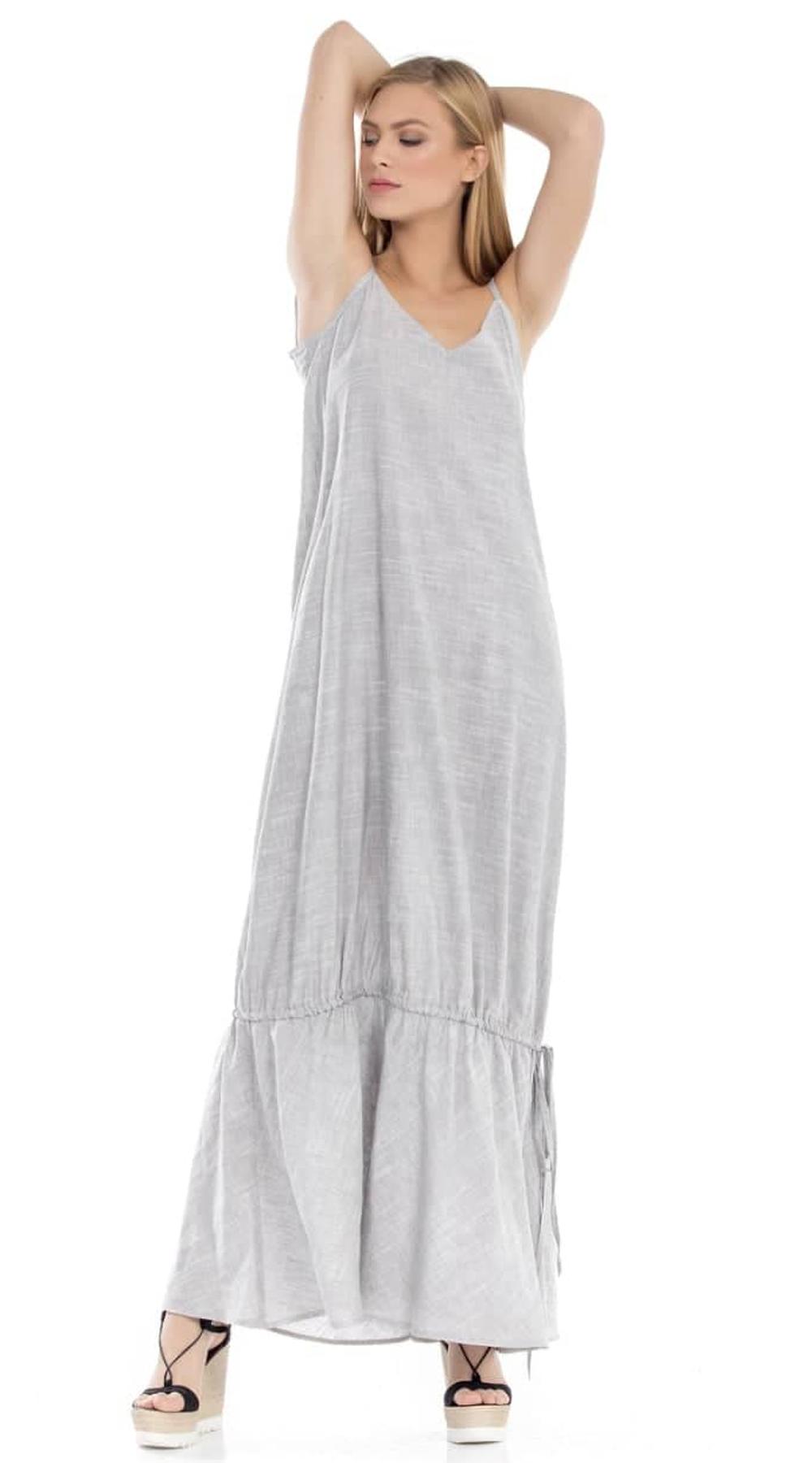 Μάξι λινό φόρεμα με βολάν στο τελείωμα Online - ONLINE - S18ON-52642 φορέματα μάξι φορέματα