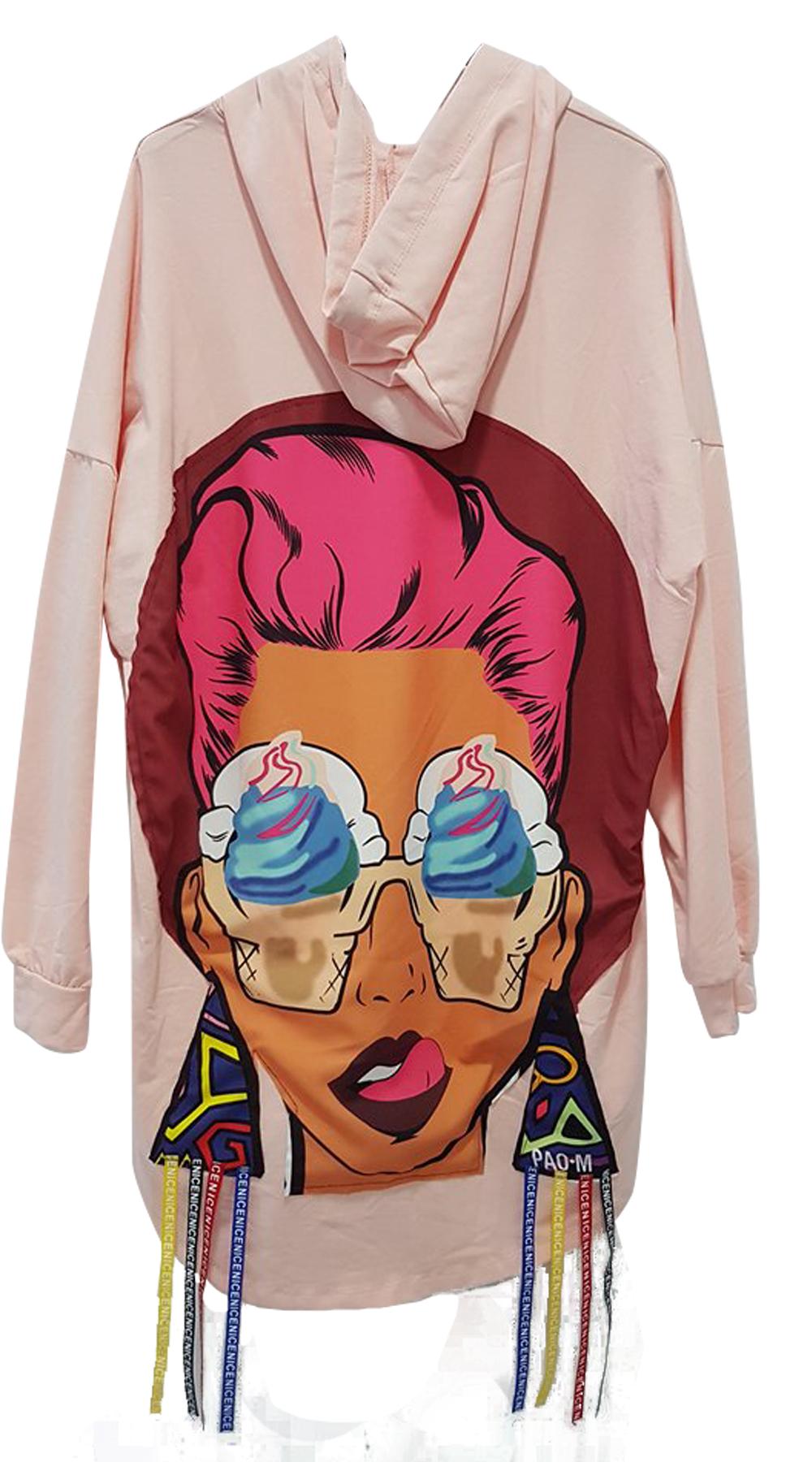 Γυναικείο overiszed hoodie με funky print στην πλάτη - MissReina - S18SOF-189920 ενδύματα μπλούζες   t shirts