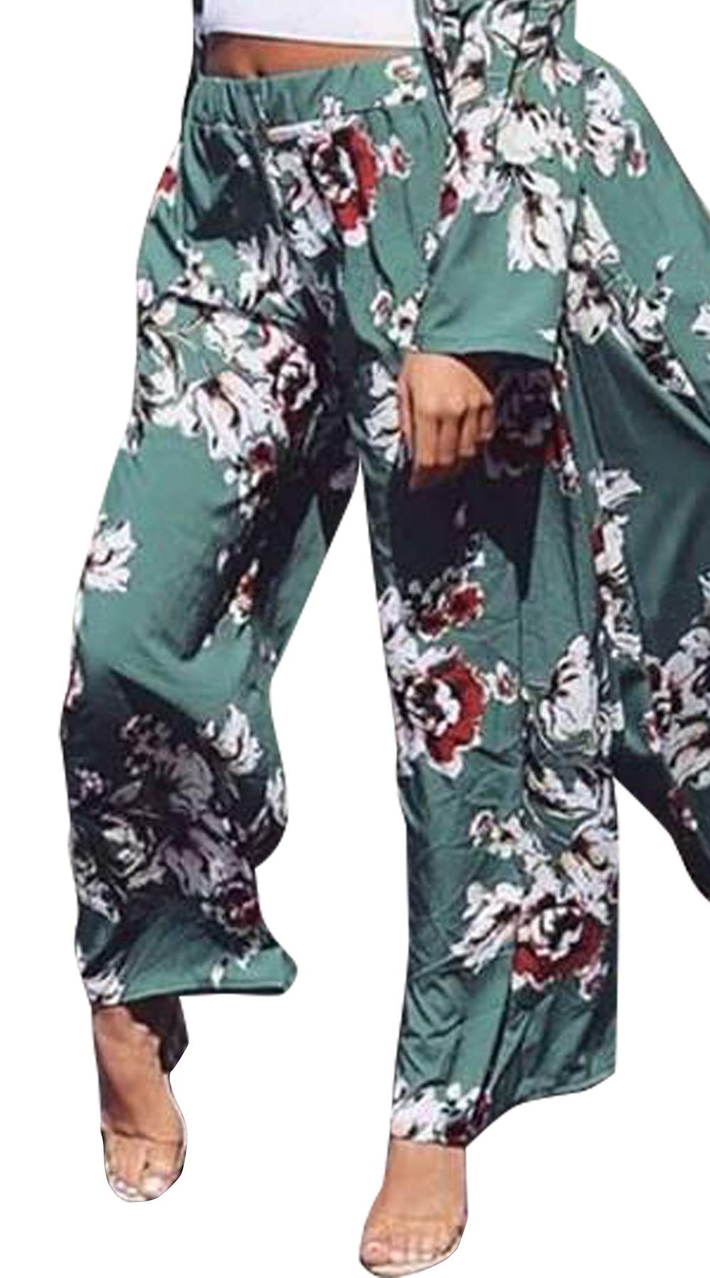 Παντελόνα με αφηρημένο φλοράλ - MissReina - S18SOF-301189 top trends animal prints