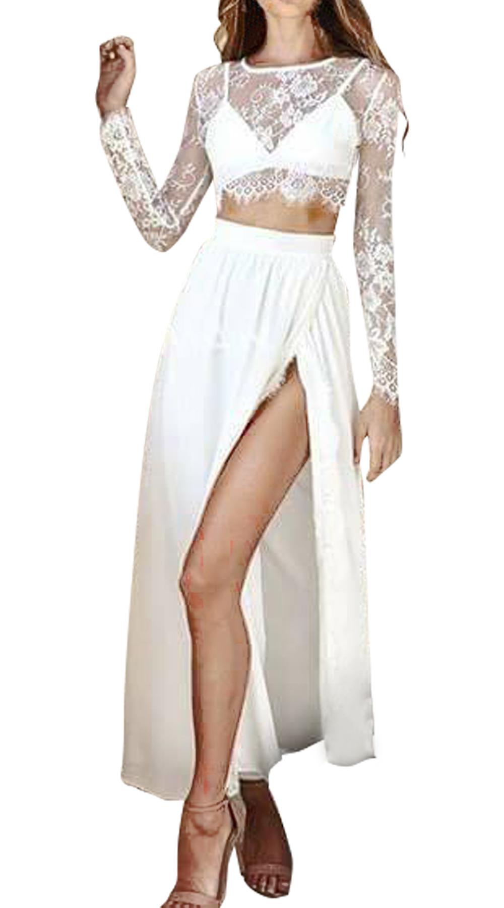 Σετ δαντελωτής μπλούζας και φούστας με high split - MissReina - S18SOF-51718 top trends glam occassions