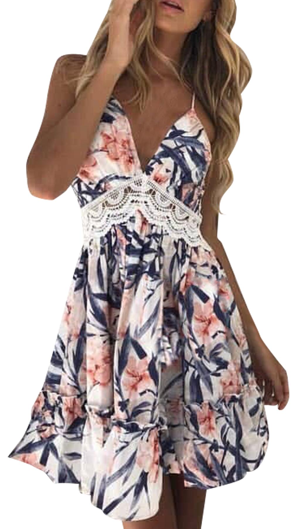 Μίνι φλοράλ με σχέδιο δαντέλα στην πλάτη - MissReina - S18SOF-53362 φορέματα φλοράλ φορέματα