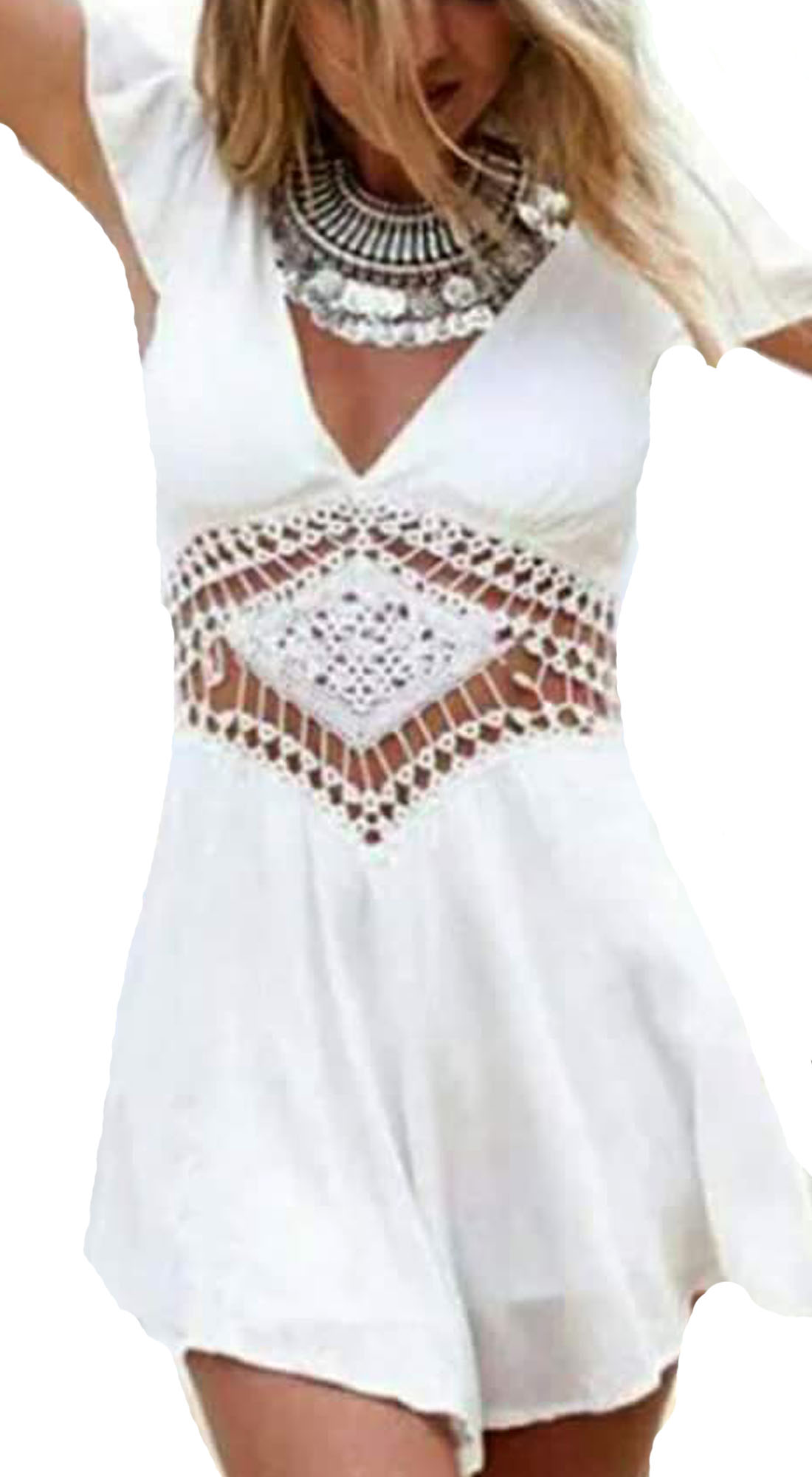 Γυναικείο girly chic Ethnic playsuit με Κοντό Μανίκι - MissReina - SP17SOF-23903 ενδύματα ολόσωμες φόρμες