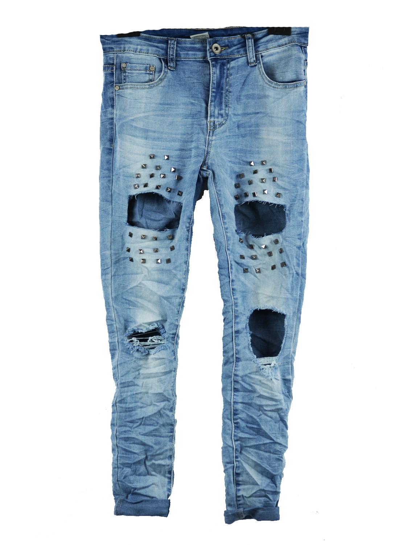Γυναικείο Denim Jean με μεγάλα σκισίματα τσέπες και silver trouks - OEM - SP17SO top trends monochrome