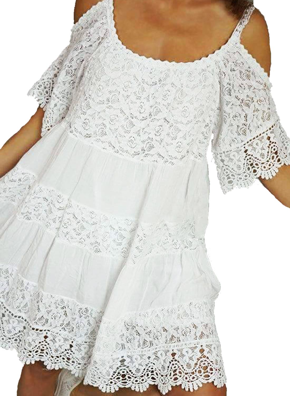 Έθνικ Φόρεμα με cut-out ώμους και Δαντέλα - OEM - SP17SOF-504047 φορέματα μίνι φορέματα