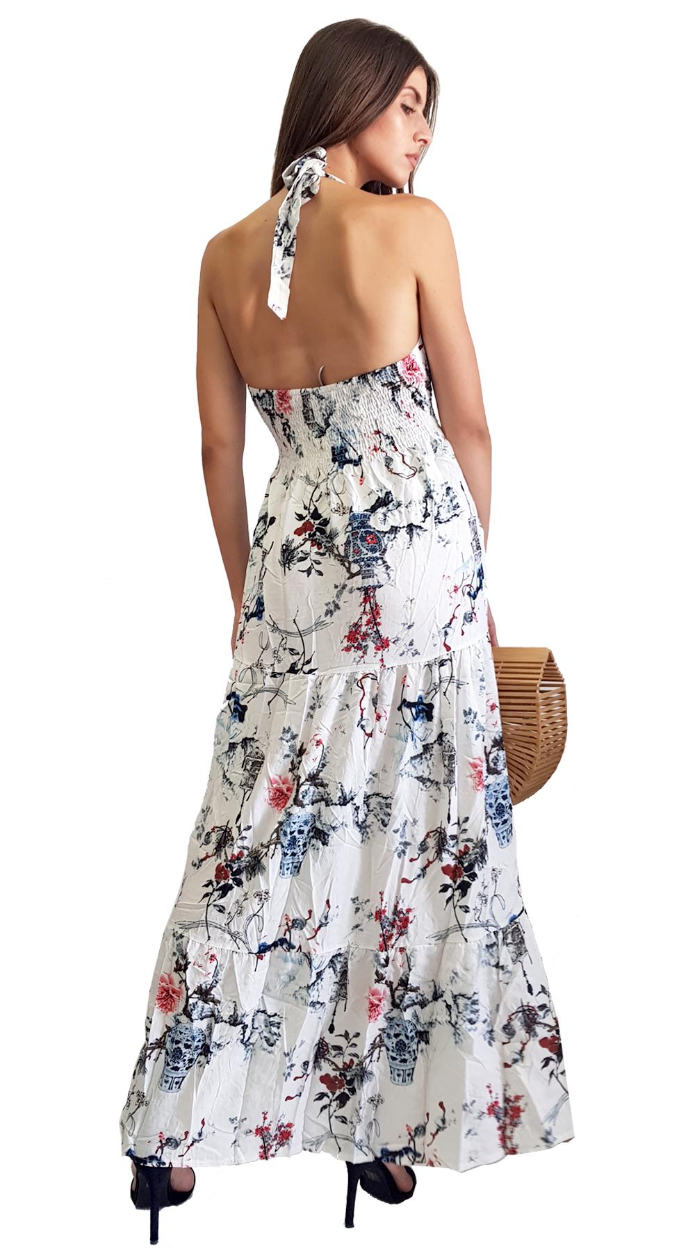 aac3fe6970b7 Μαξι φλοραλ φορεμα με εξω πλατη