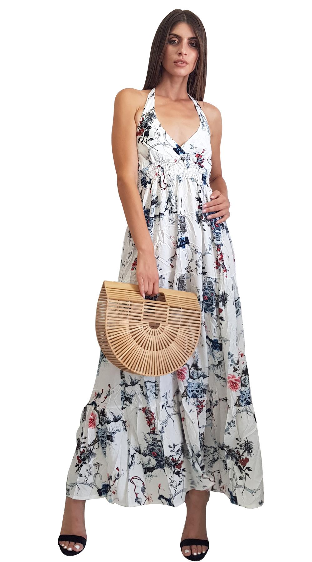Μαξι φλοραλ φορεμα με εξω πλατη - MissReina - SP18ΜR-57782 φορέματα μάξι φορέματα