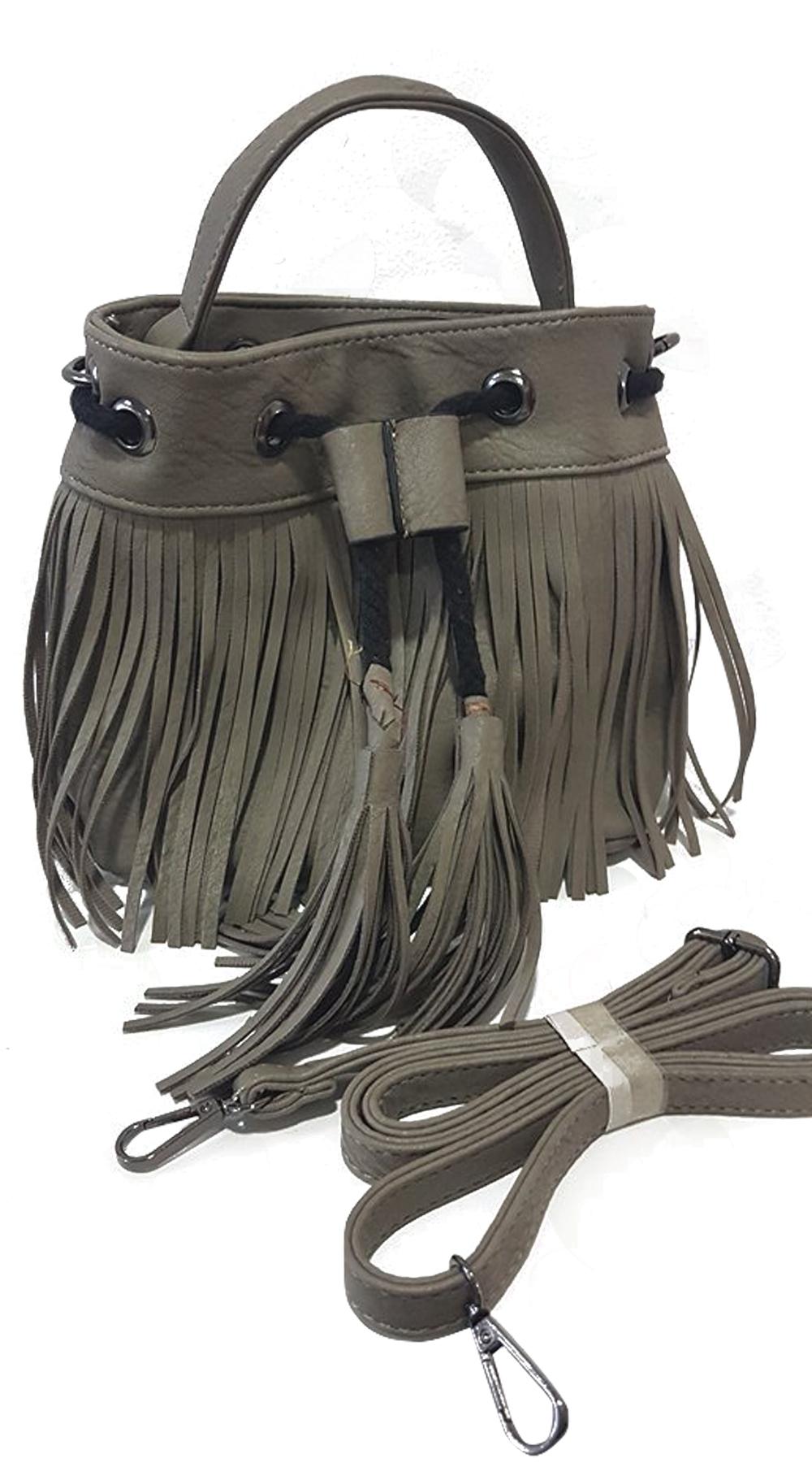 17bcb21b3d Γυναικεία τσάντα πουγκί boho με κρόσσια
