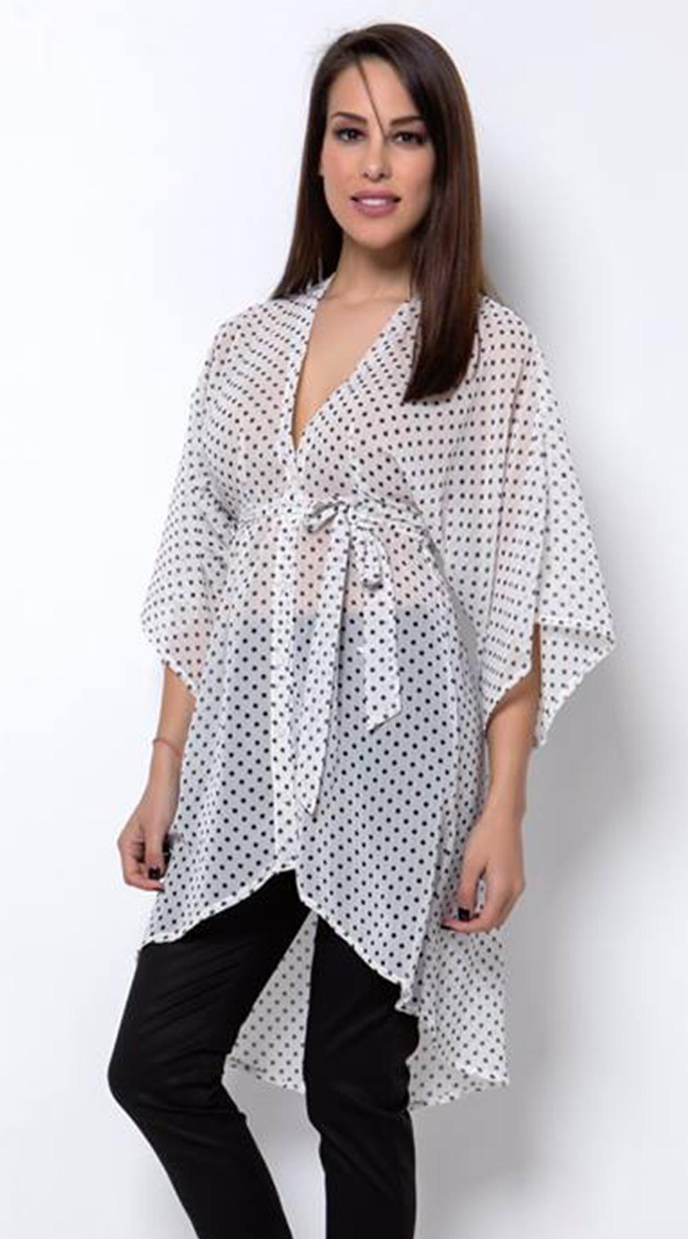 Γυναικεία πουά τουνίκ με δέσιμο - Greek Brands - SP18CM-129009 μπλούζες   t shirts elegant tops