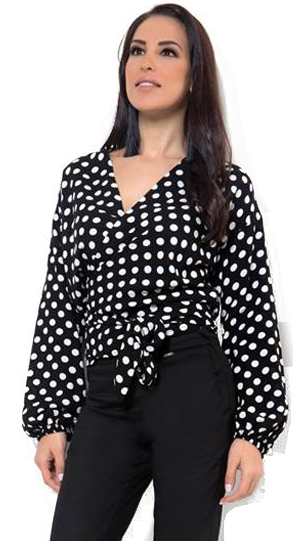 Γυναικεία κρουαζέ πουά μπλούζα - OEM - SP18CM-15020 μπλούζες   t shirts elegant tops