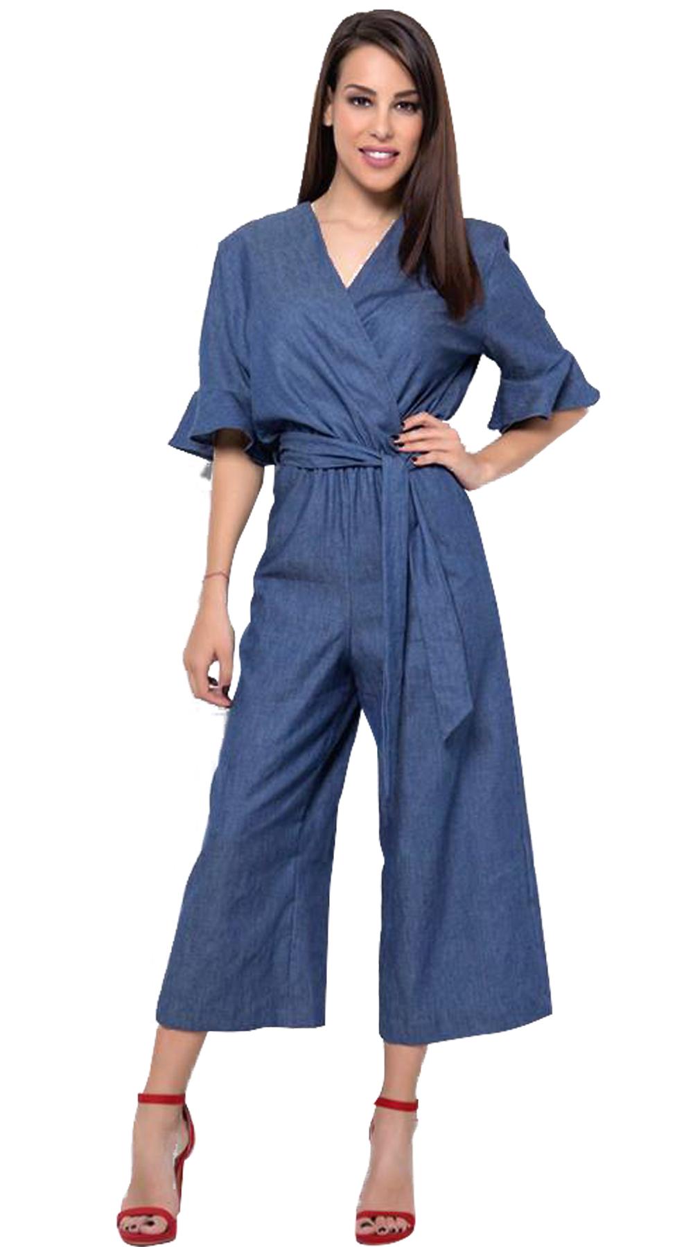 Γυναικεία κρουαζέ ολόσωμη φόρμα soft denim με ζιπ κιλότ τελείωμα - Greek Brands  top trends office look