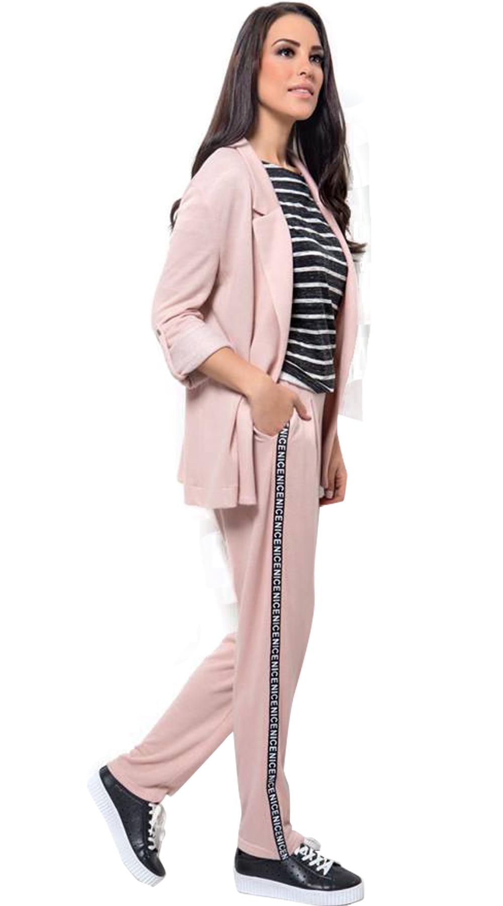 Γυναικείο σετ soft bazer και παντελόνι με αθλητική ρίγα  999cffd4e97