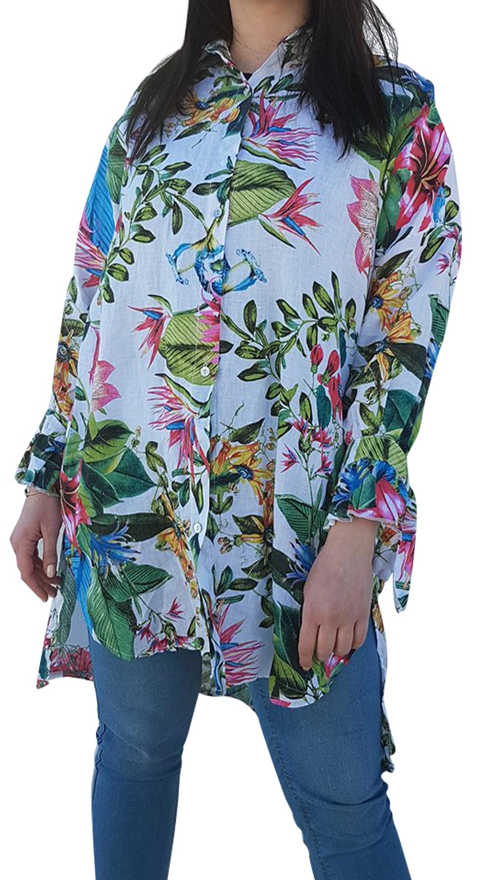 Oversized φλοράλ πουκαμίσα - MissReina - SP18GAL-18156 curvy plus μπλούζες   πουκάμισα