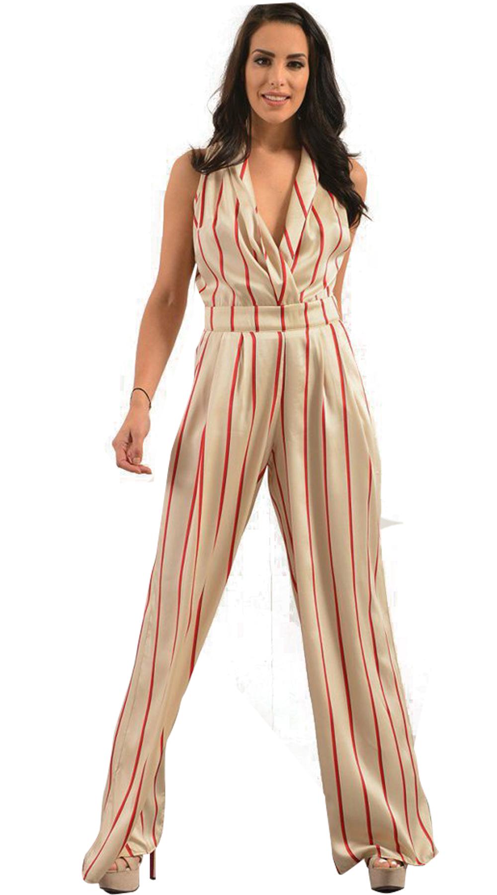 Γυναικεία ολόσωμη ριγέ φόρμα σατινέ - LOVE ME - SP18LV-200129 ενδύματα ολόσωμες φόρμες