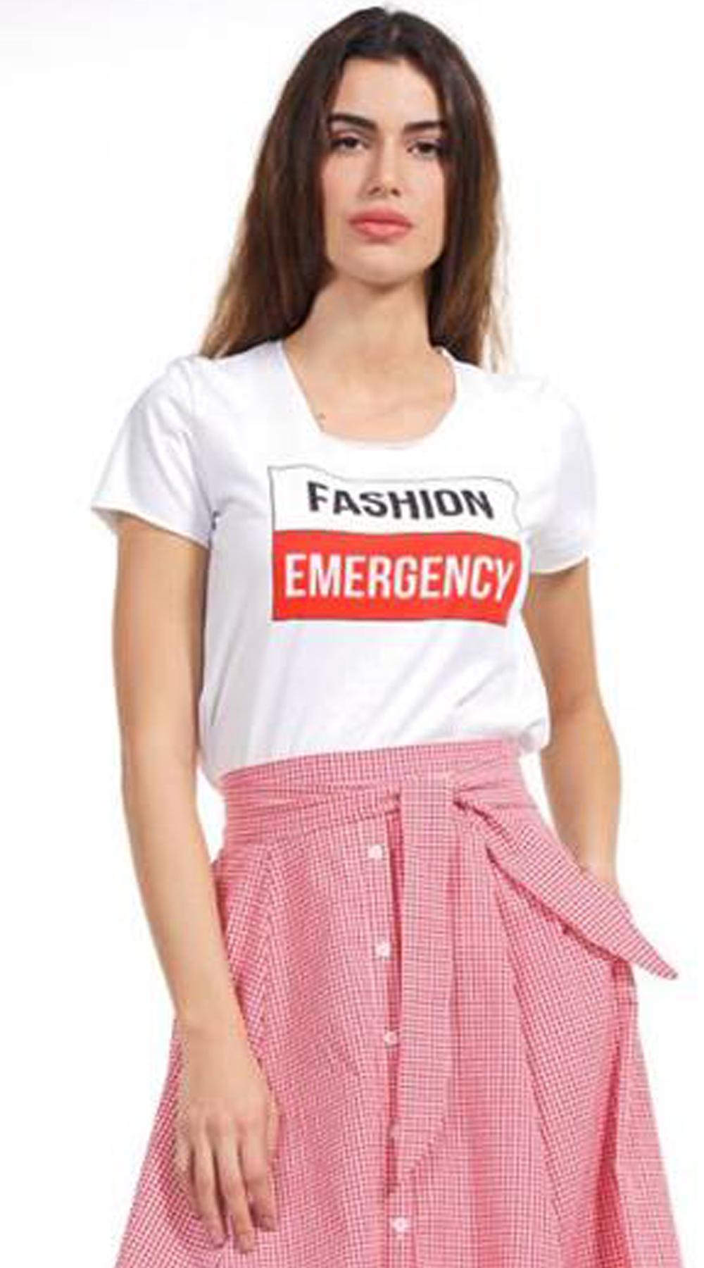 Γυναικείο basic t-shirt Fashion Emergency - Greek Brands - SP18NA-11073 μπλούζες   t shirts basic t shirts
