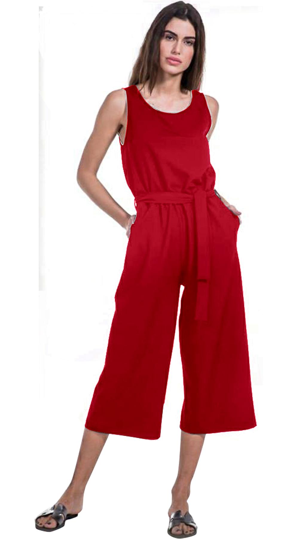 Γυναικεία ολόσωμη φόρμα με ζιπ κιλότ τελείωμα - OEM - SP18NA-23003 top trends casual chic