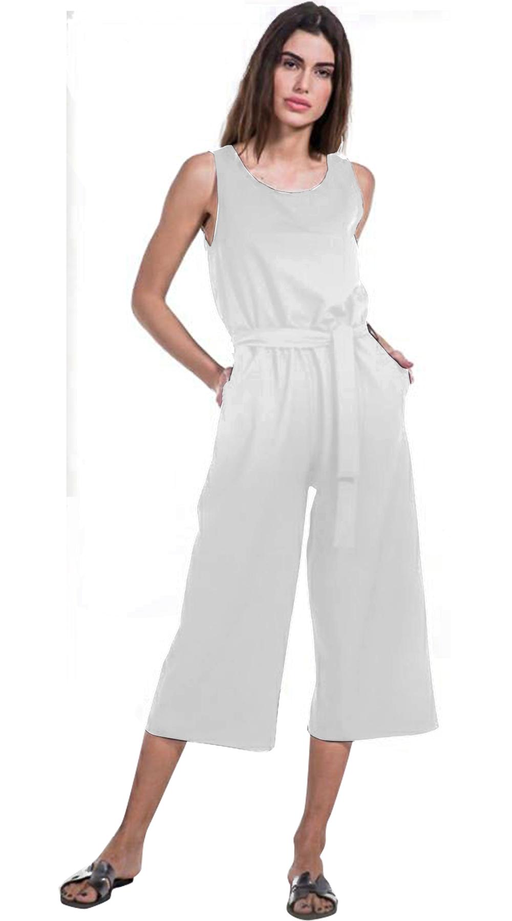 Γυναικεία ολόσωμη φόρμα με ζιπ κιλότ τελείωμα - Greek Brands - SP18NA-23003 top trends casual chic