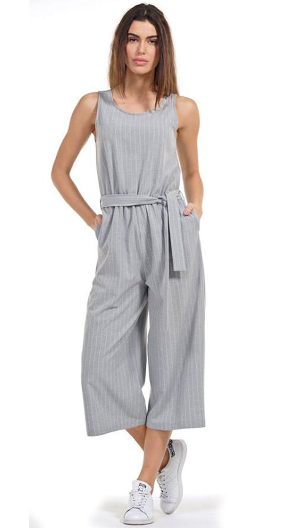 Γυναικεία ολόσωμη ριγέ φόρμα με ζιπ κιλότ τελείωμα - OEM - SP18NA-23004 ενδύματα ολόσωμες φόρμες