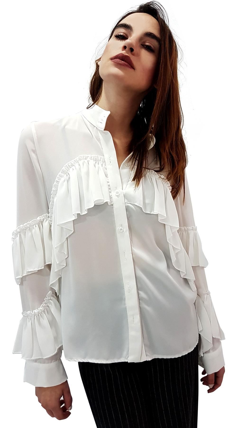 Γυναικείο πουκάμισο με φάσα βολάν στο στήθος - MissReina - SP18SOF-124578 μπλούζες   t shirts elegant tops