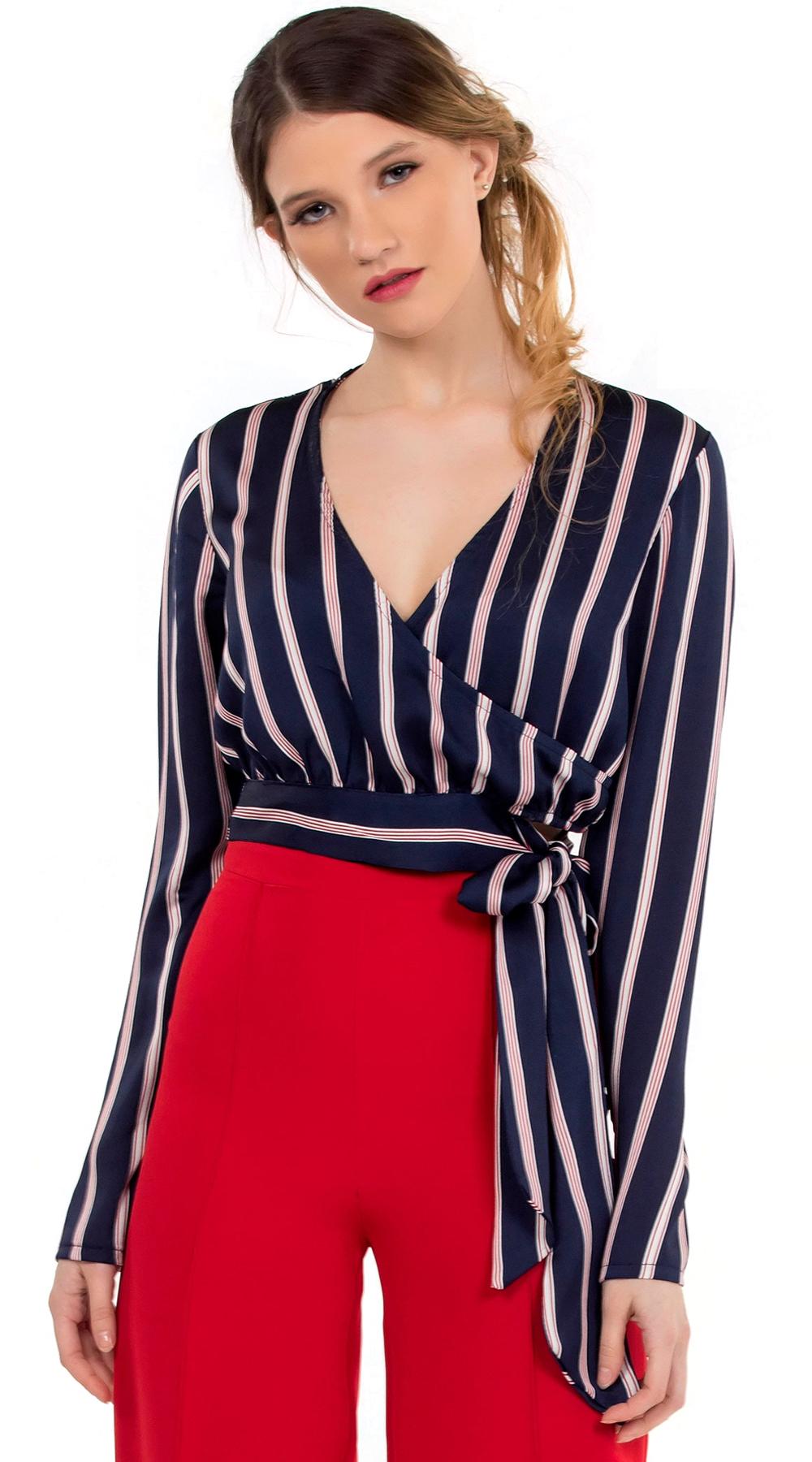 Γυναικείο κρουαζέ σατινέ τοπ με ρίγες Online - ONLINE - SP18ON-16059 μπλούζες   t shirts elegant tops