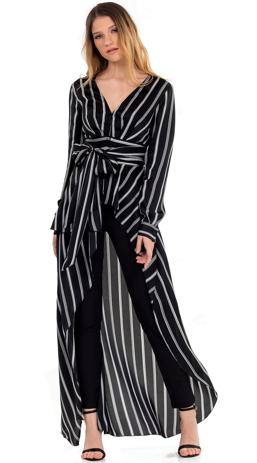 Γυναικείο μακρύ statement πολυμορφικό τοπ ριγέ Online - ONLINE - SP18ON-16070 μπλούζες   t shirts elegant tops
