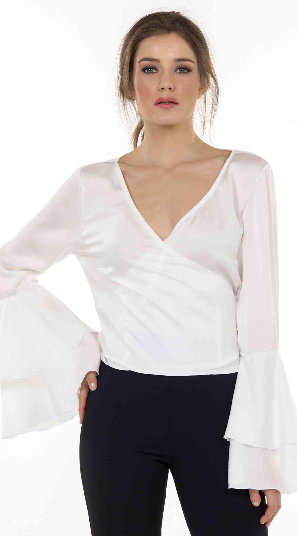 245d237f791e Γυναικεία κρουαζέ μπλούζα σατινέ με βολάν μανίκια Online