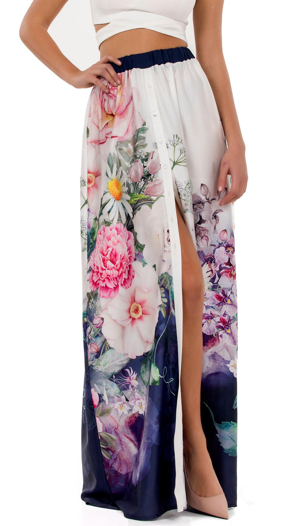Μάξι φούστα φλοράλ με κουμπιά Online - ONLINE - SP18ON-36104 top trends boho style