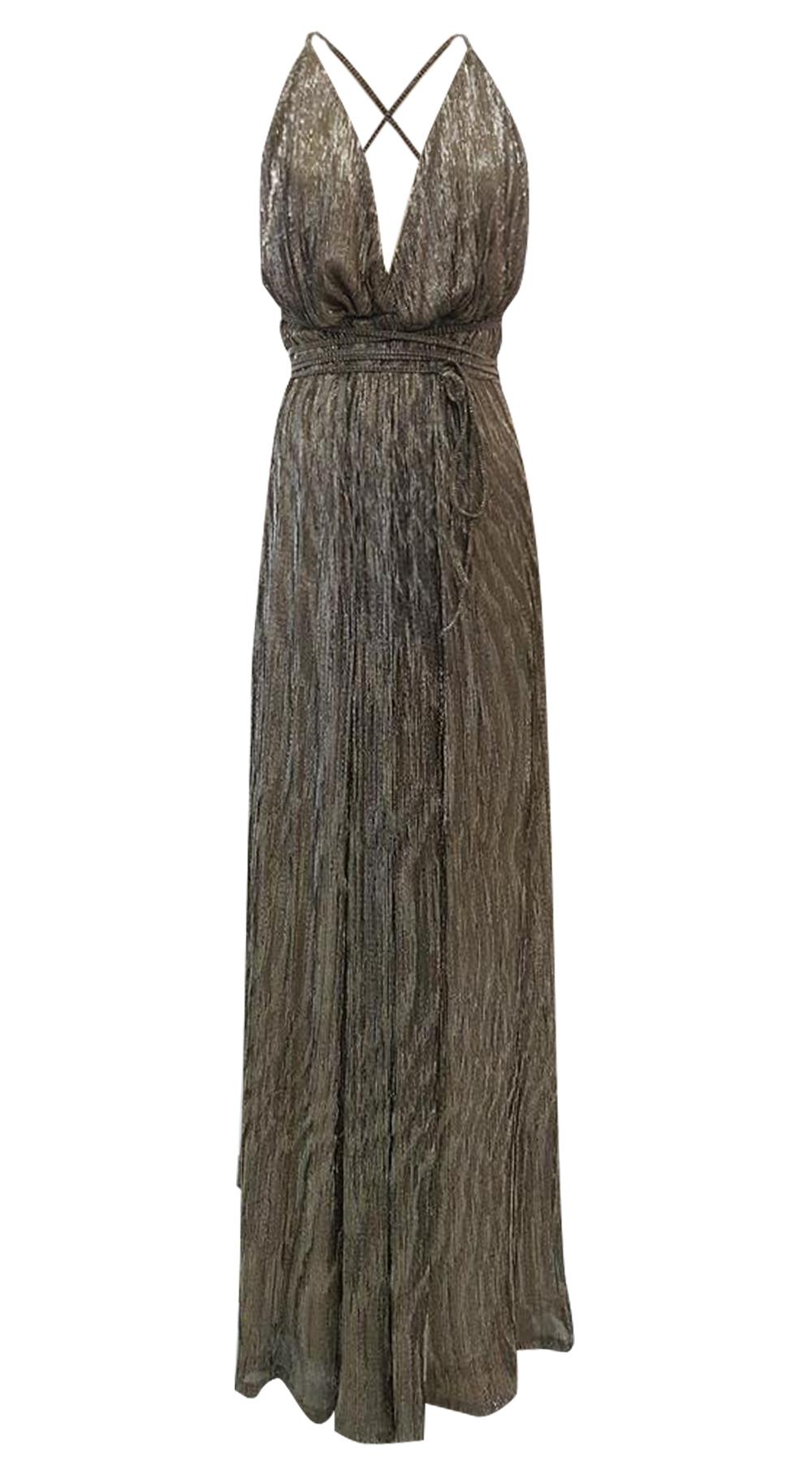 a9604046dcf6 Μάξι χρυσό φόρεμα με χιαστί πλάτη Online