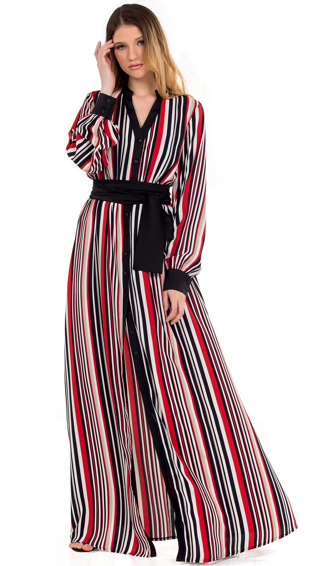 Μάξι ριγέ φόρεμα με κουμπιά και χοντρή ζώνη Online - ONLINE - SP18ON-56042 φορέματα μάξι φορέματα