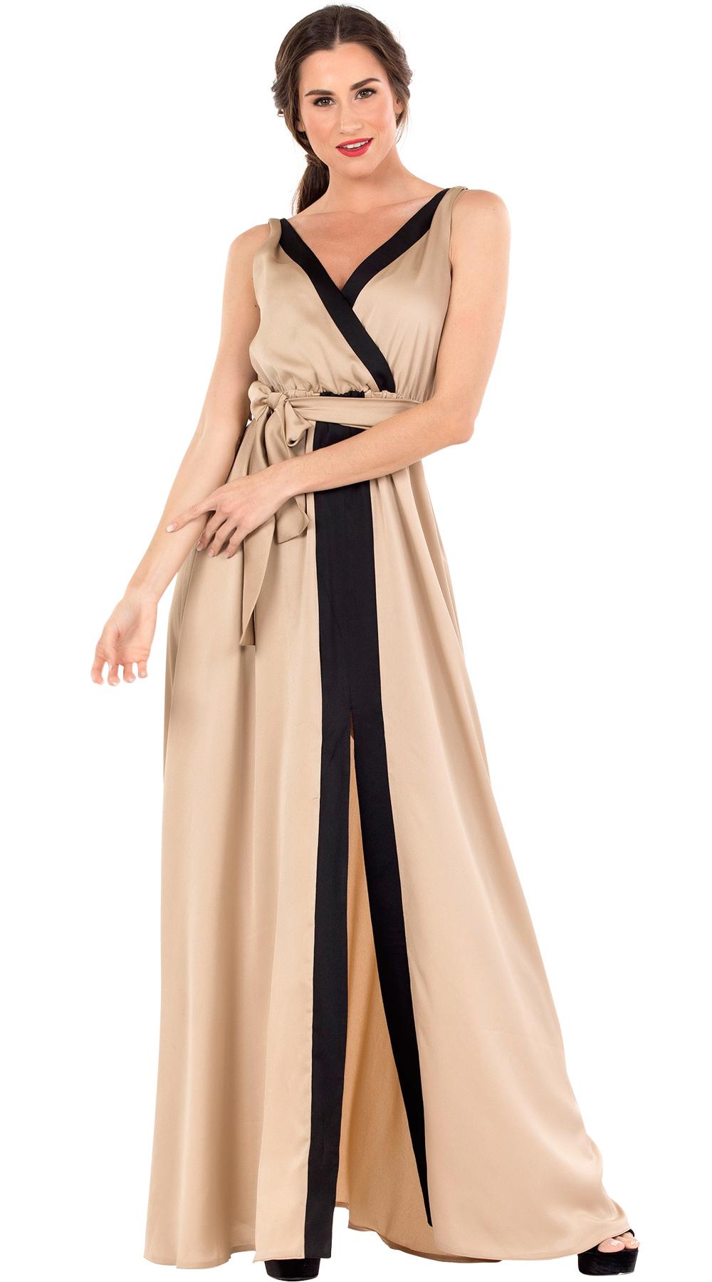 Μάξι κρουαζέ φόρεμα σατινέ με σκίσιμο μπροστά και ζώνη Online - ONLINE - SP18ON- glam occassions wedding shop