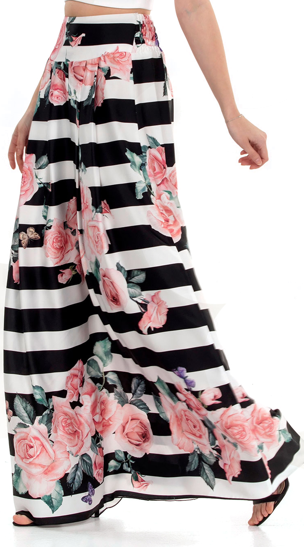 Μάξι φούστα με μεγάλες ρίγες και φλοράλ print Online - ONLINE - SP18ON-76050 top trends ρίγες