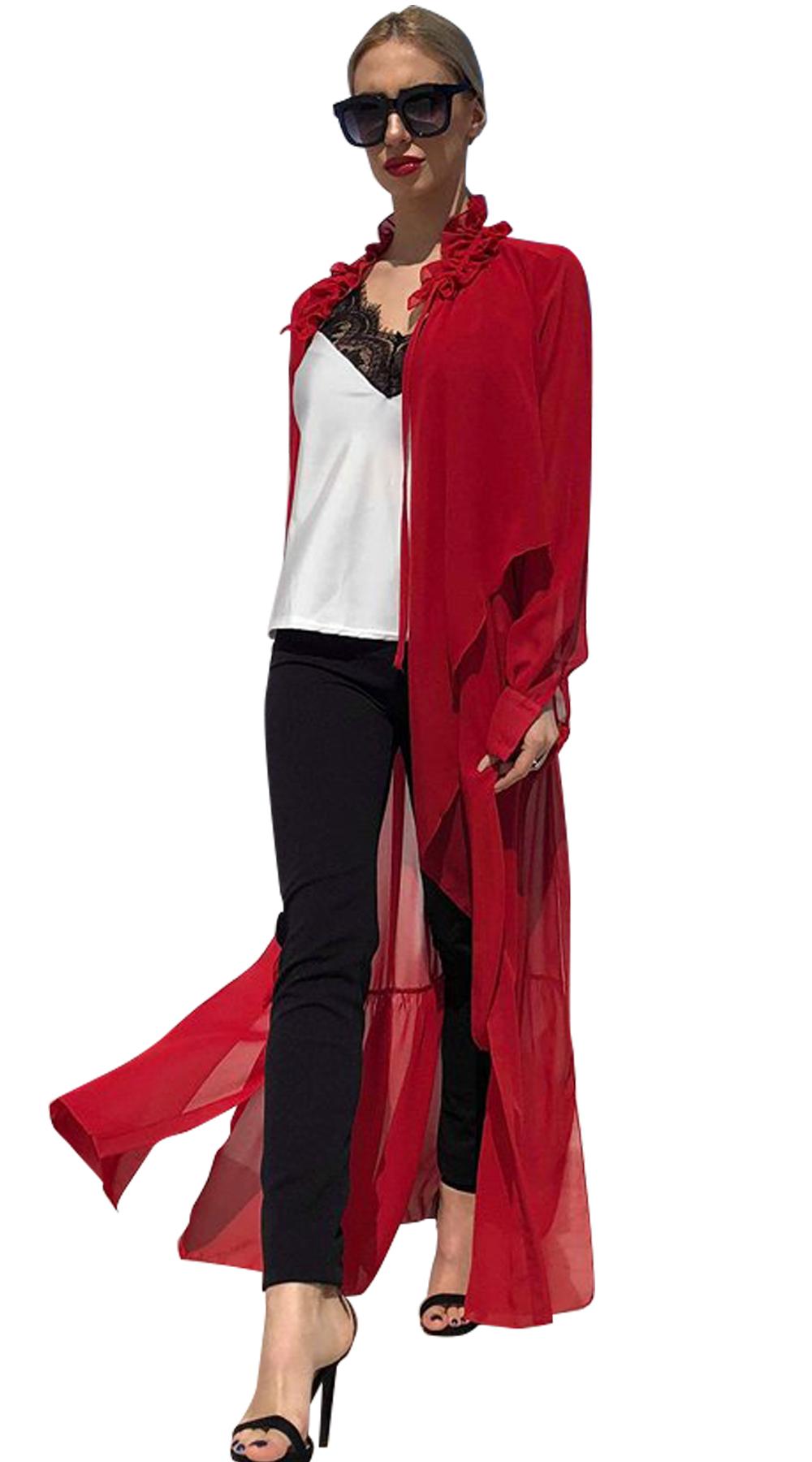 Γυναικείο κιμονό με βολάν στο λαιμό - ON-LINE - SP18ON-86073 curvy plus πανοφώρια