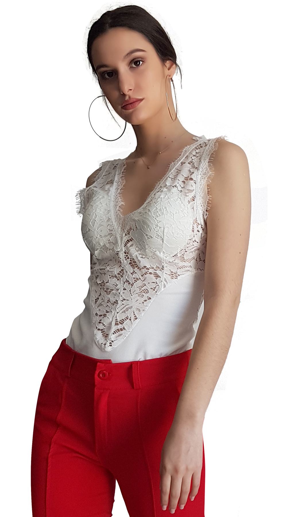 Γυναικείο αμάνικο κορμάκι με λεπτομέρεια από δαντέλα - OEM - SP18SOF-100134 top trends δαντέλα