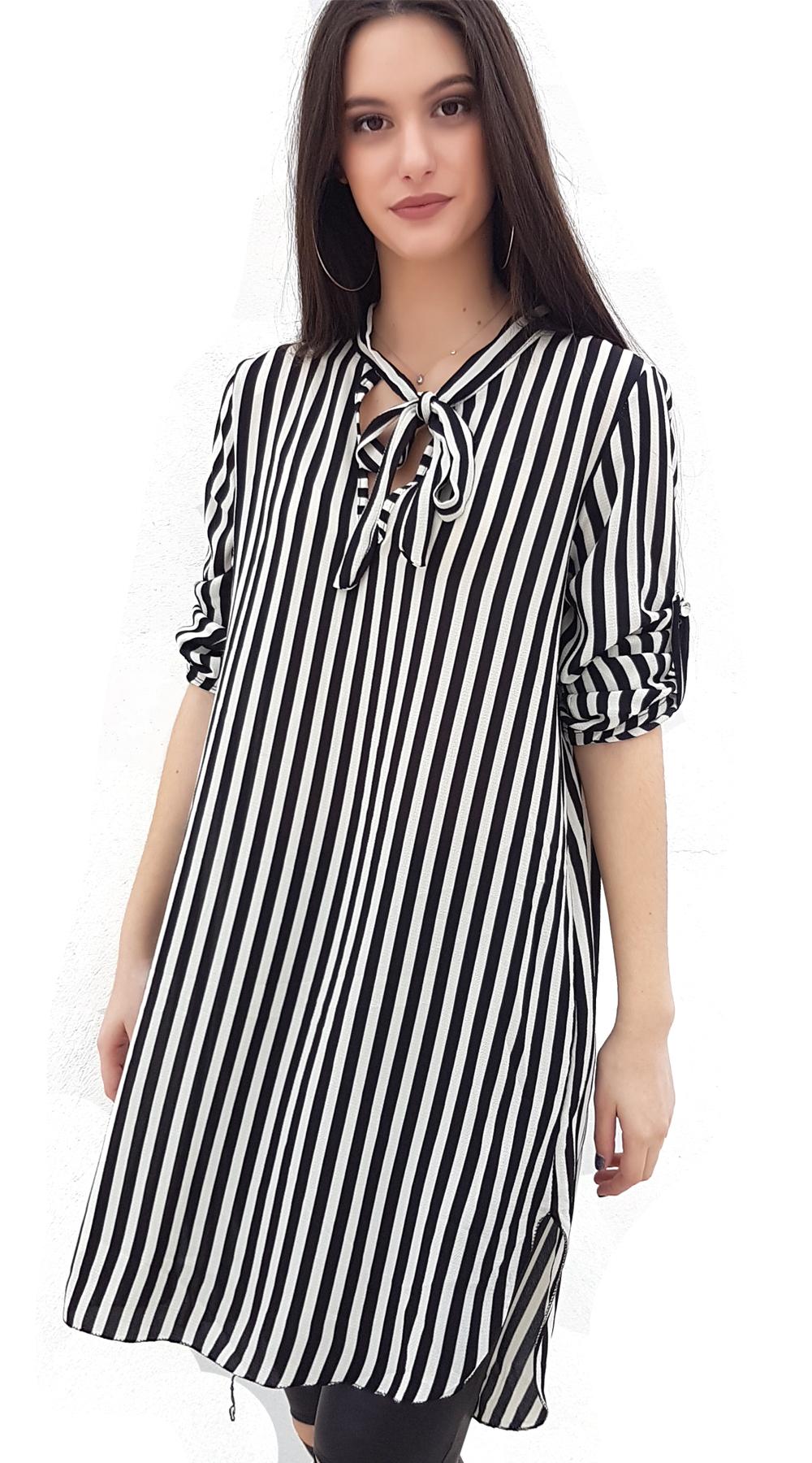 Γυναικεία ριγέ τουνίκ με δέσιμο στο λαιμό - OEM - SP18SOF-1912000 μπλούζες   t shirts elegant tops
