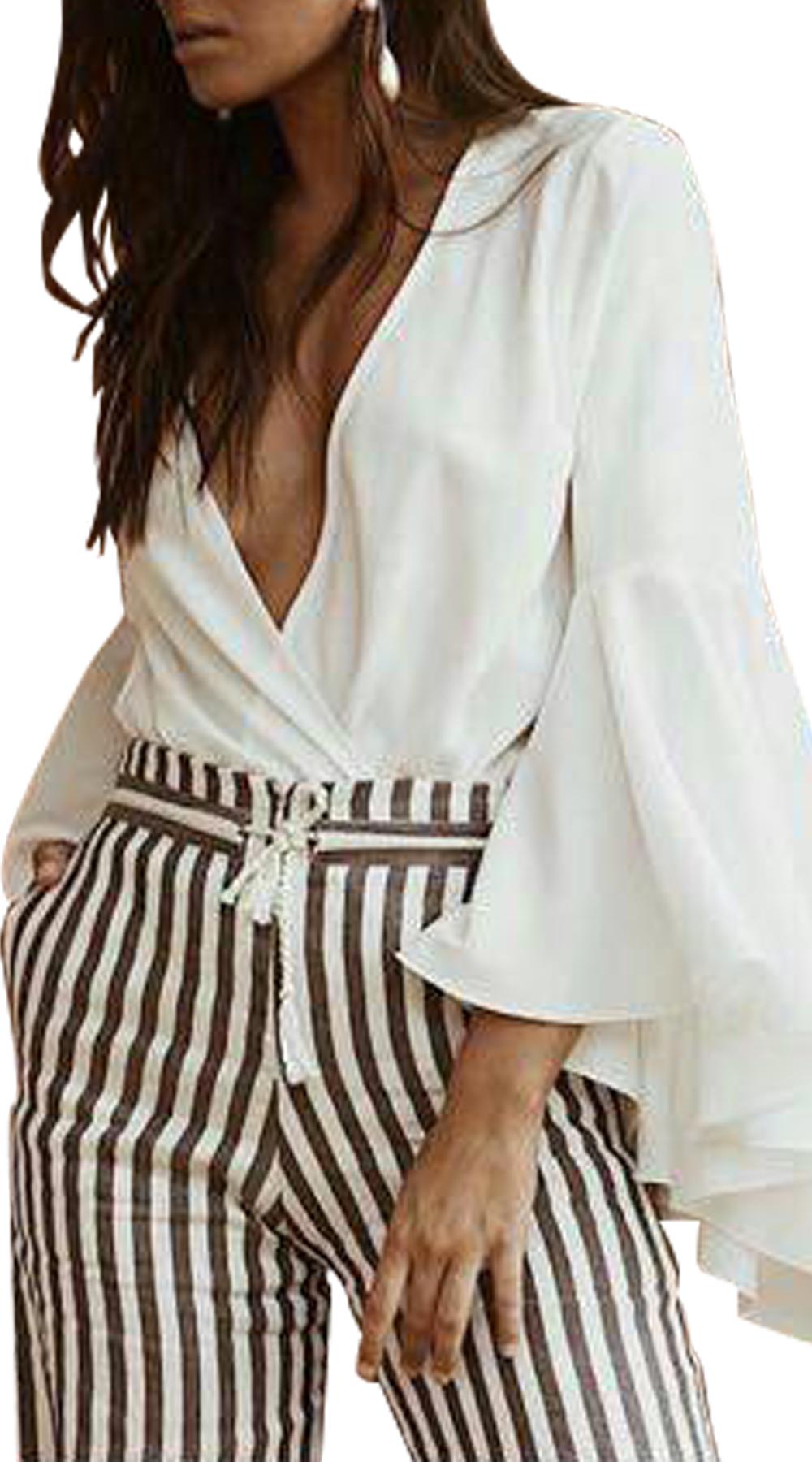 Γυναικείο κορμάκι σε κρουαζέ γραμμή με ντραπέ μανίκια - OEM - SP18SOF-192001233 μπλούζες   t shirts elegant tops
