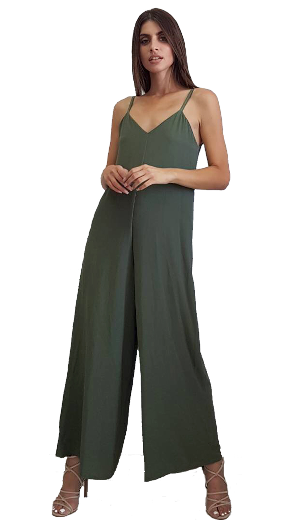 Ολόσωμη Παντελόνα σε χαλαρή γραμμή - MissReina - SP18SOF-21830 ενδύματα ολόσωμες φόρμες