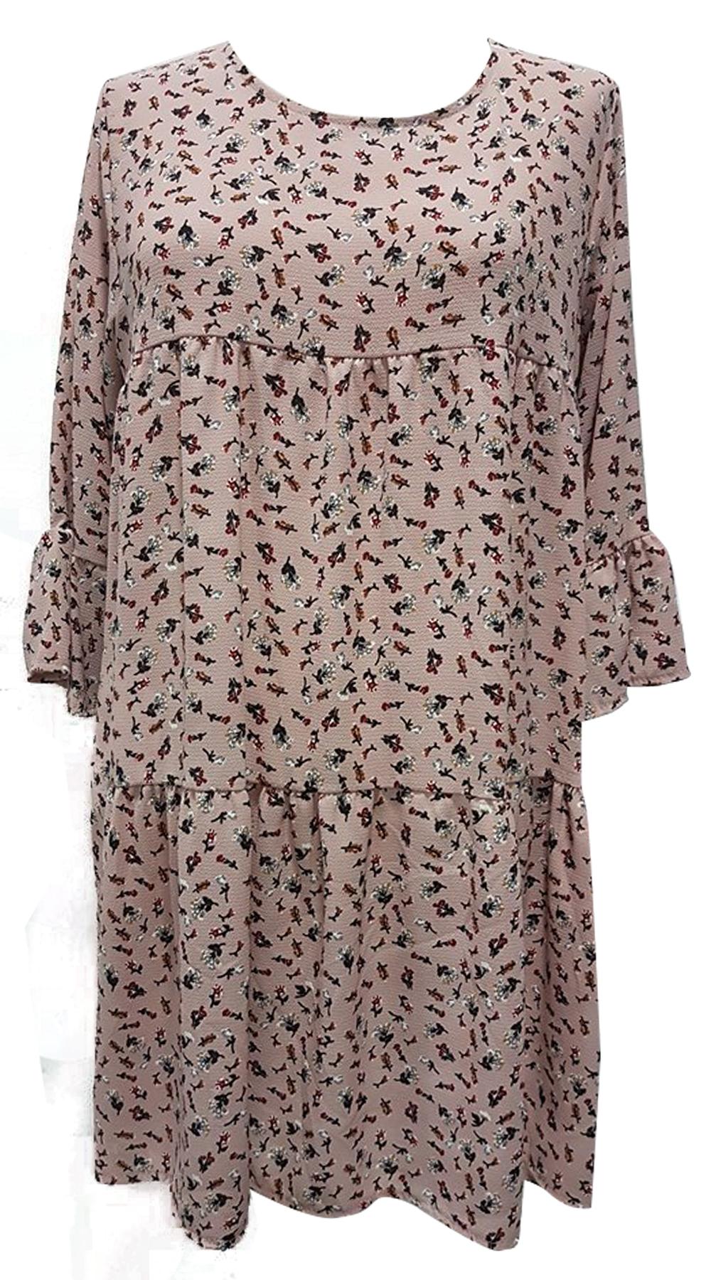 Μίνι φλοράλ φόρεμα παστέλ με βολάν στα τελειώματα - OEM - SP18SOF-4882744934 φορέματα μίνι φορέματα