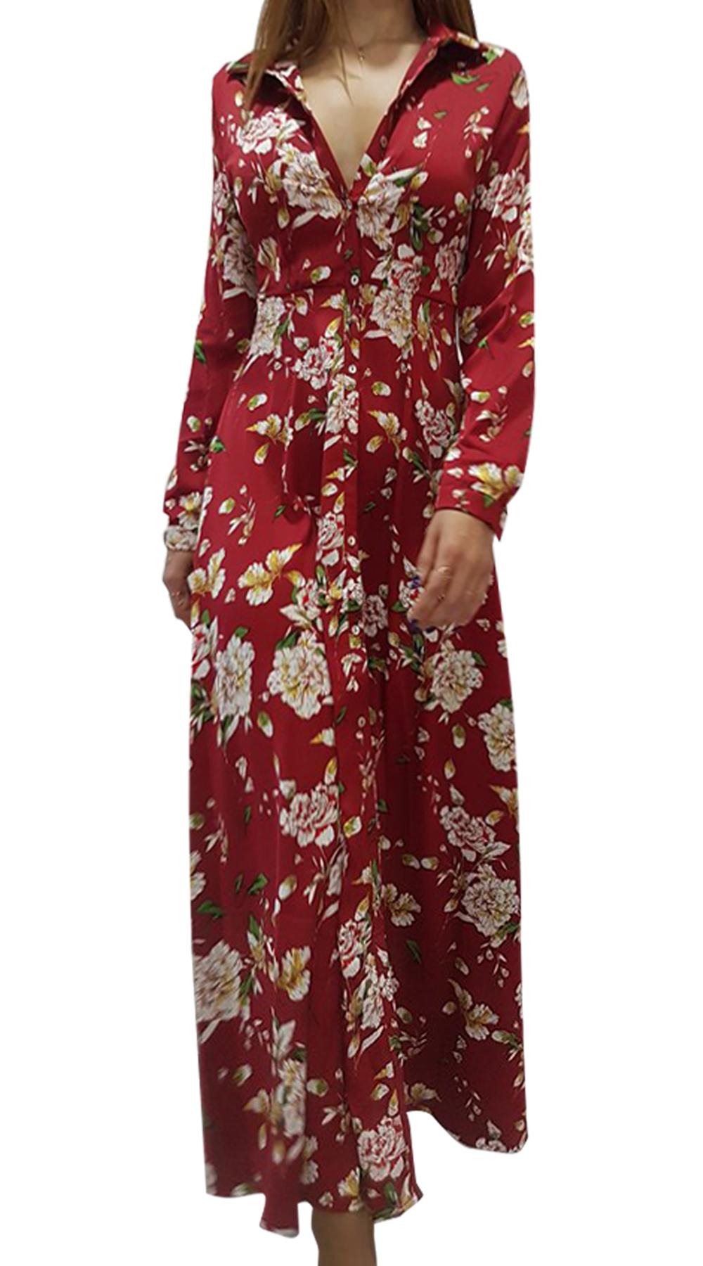 Maxi σατινέ φόρεμα παστέλ φλοράλ - OEM - W18SOF-588299101 φορέματα φλοράλ φορέματα