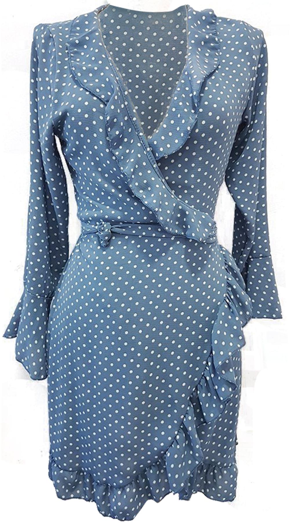 Μίνι πουά κρουαζέ φόρεμα με βολάν στο λαιμό - MissReina - SP18SOF-546987 φορέματα μίνι φορέματα
