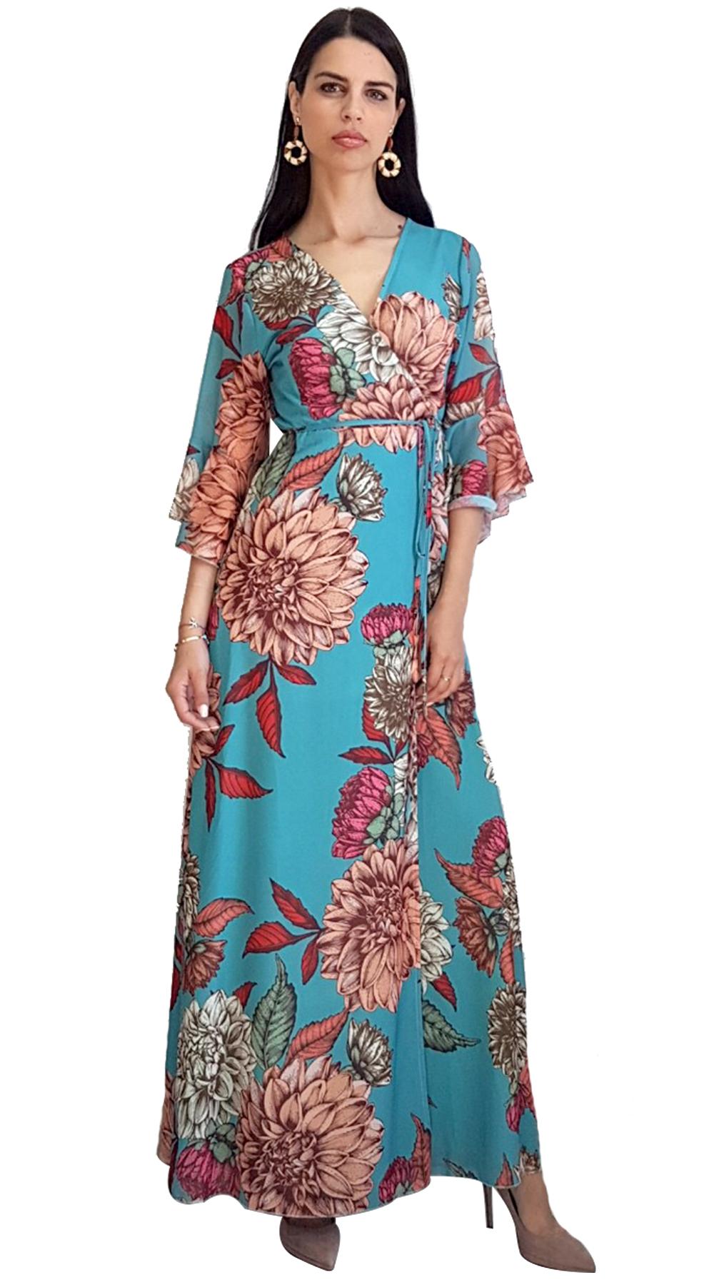 Floral Maxi Φόρεμα - MissReina - SP19AG-58559 φορέματα so girly