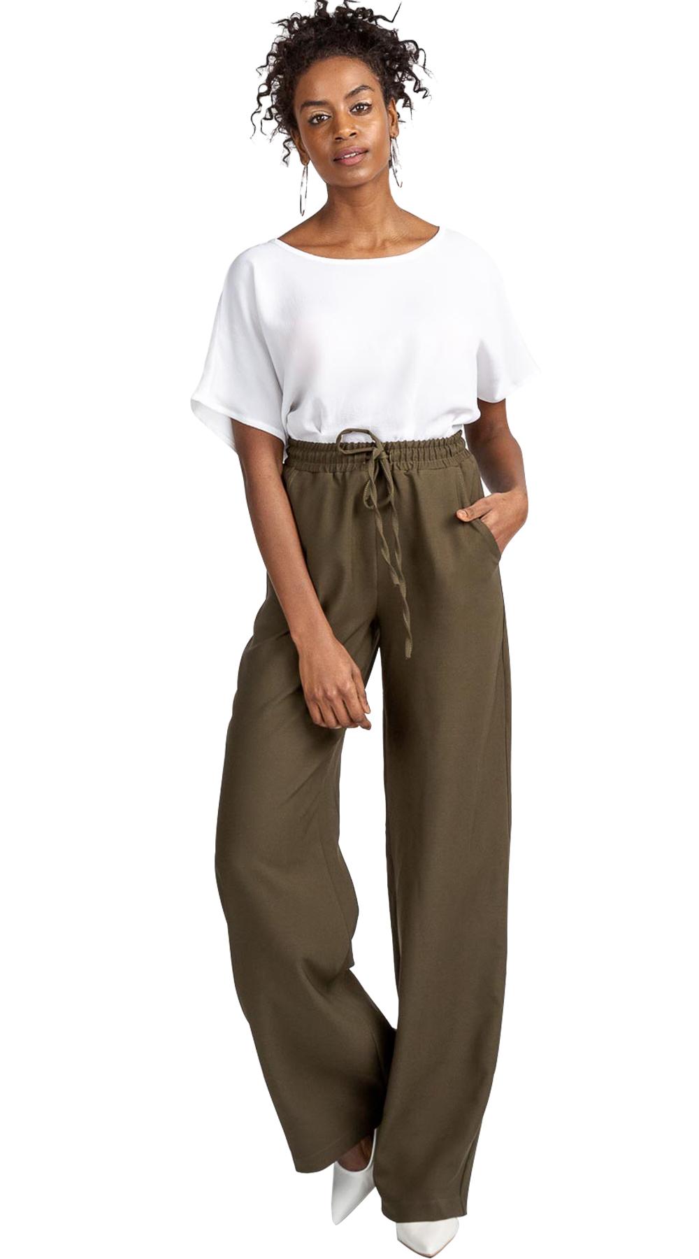 Παντελόνι με λάστιχο στη μέση - Greek Brands - SP19AN-325206 ενδύματα παντελόνια   κολάν