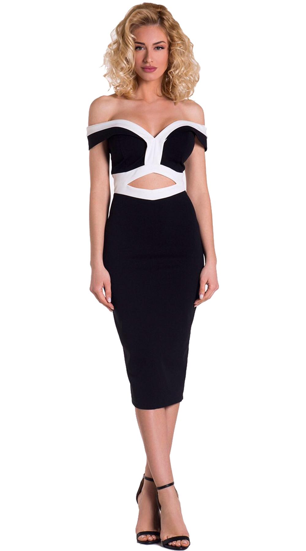 Bodycon BnW Φόρεμα - LOVE ME - SP19LV-58170 φορέματα βραδυνά φορέματα