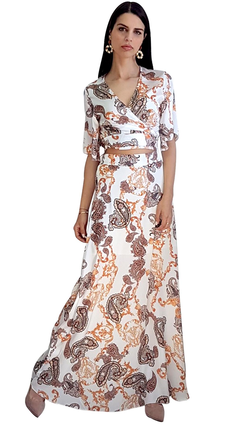 Σατινέ Έθνικ Σετ Κρουαζέ Μπούστο με Μάξι Φούστα LOVE ME - LOVE ME - SP19LV-93027 μπλούζες   t shirts elegant tops