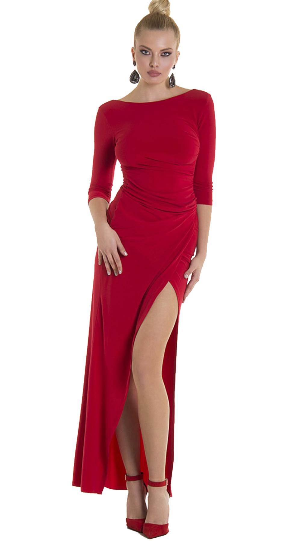 Maxi Εξώπλατο Φόρεμα με cut out ONLINE - ONLINE - SP19ON-50005-missreina φορέματα βραδυνά φορέματα