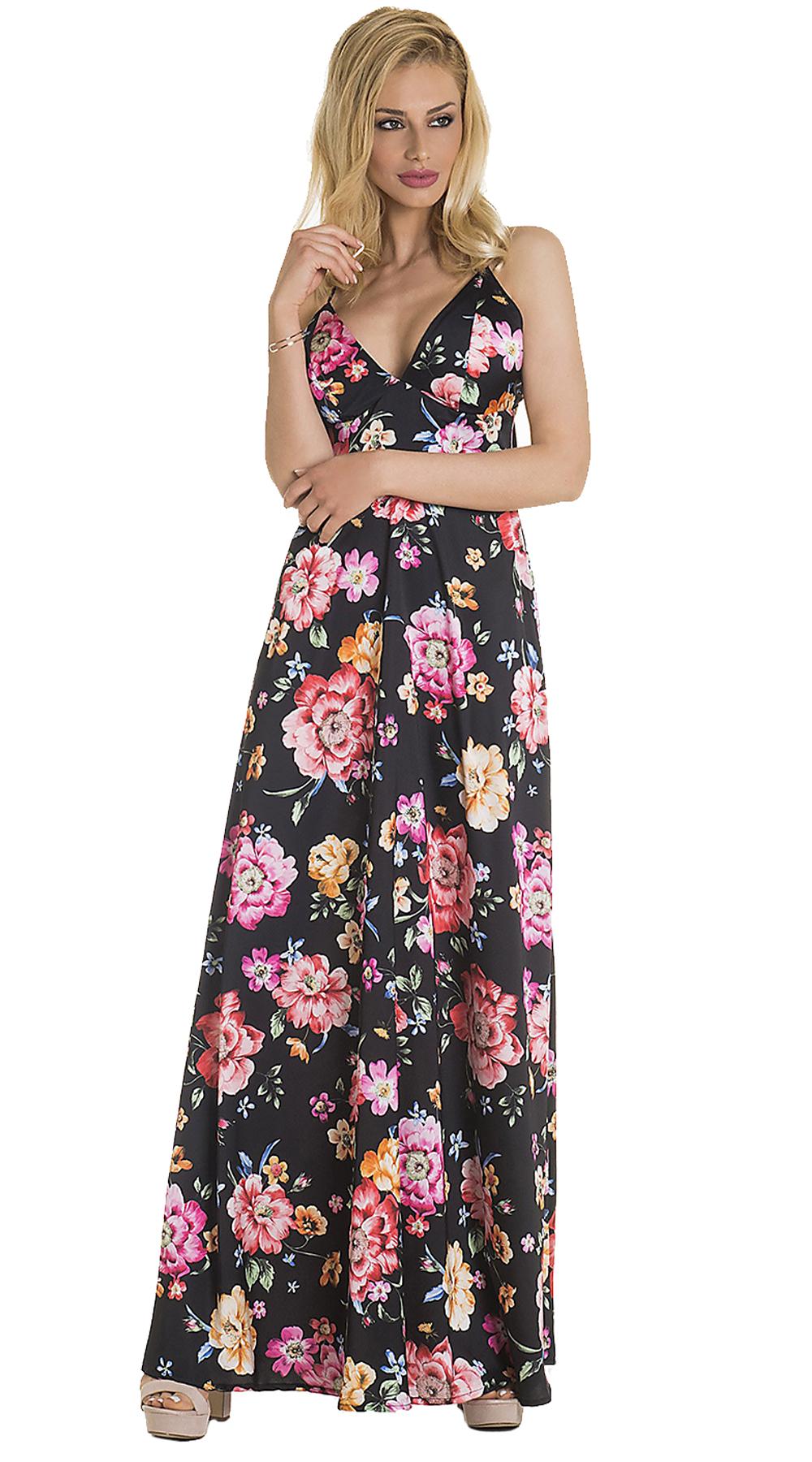 9b798e475100 Missreina Μάξι Φλοράλ Φόρεμα με ανοιχτό μπούστο ONLINE - ONLINE -  SP19ON-59310