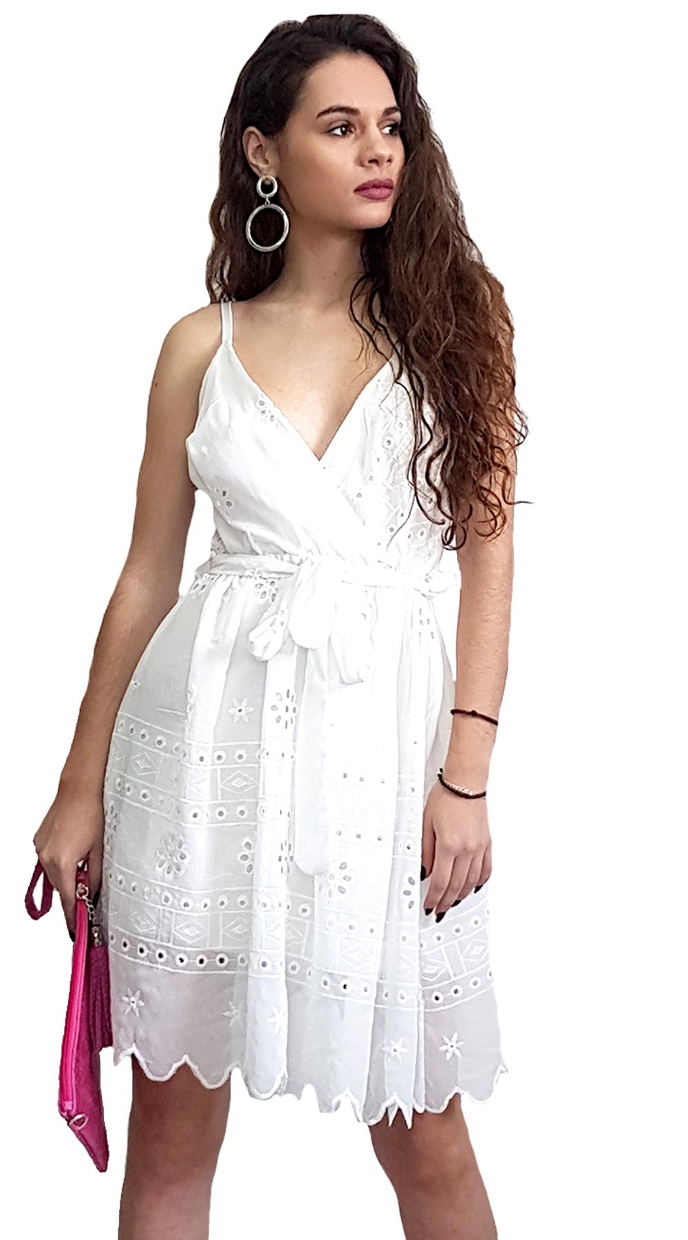 Δαντελωτό Κρουαζέ Φόρεμα με Ζώνη - MissReina - SP19SOF-52021 φορέματα μίνι φορέματα