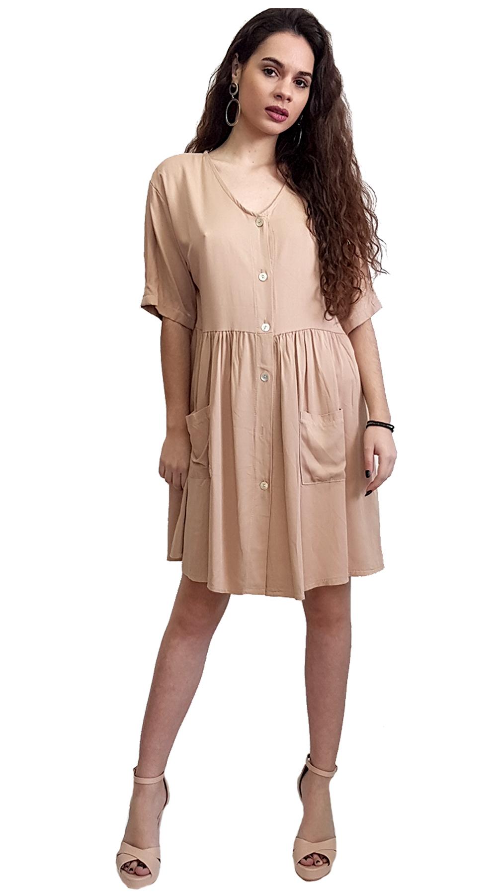 Αέρινο μίντι Φόρεμα με Κουμπιά - MissReina - SP19SOF-52828 φορέματα so girly