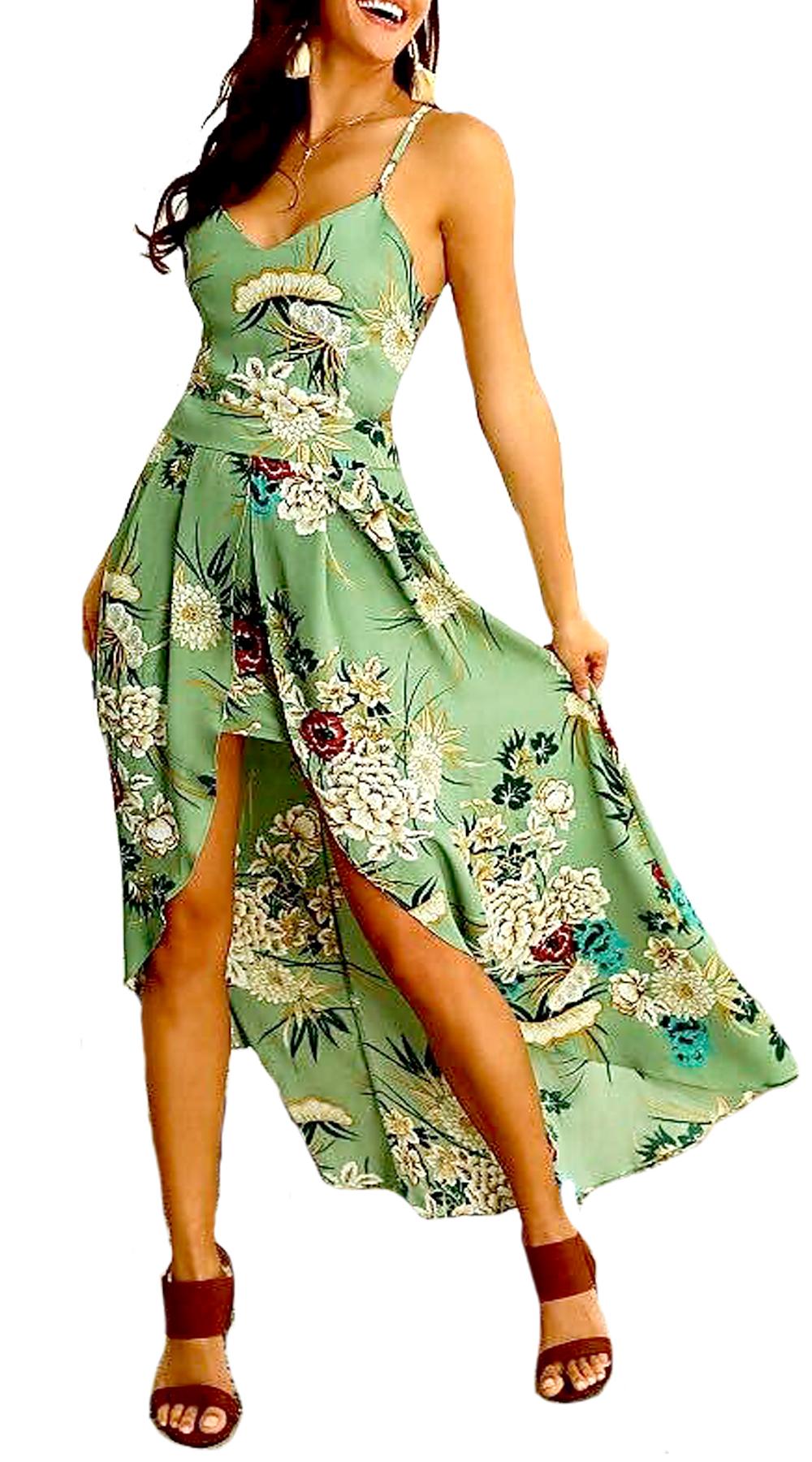 Maxi Floral Ασύμμετρο Φόρεμα - MissReina - SP19SY-58713 φορέματα so girly